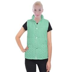 Pink Flowers Green Women s Button Up Puffer Vest