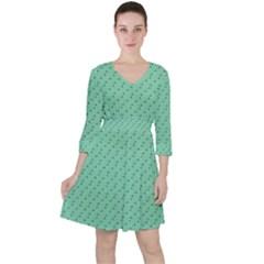 Pink Flowers Green Ruffle Dress