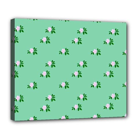 Pink Flowers Green Big Deluxe Canvas 24  X 20