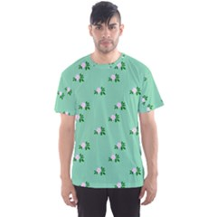 Pink Flowers Green Big Men s Sports Mesh Tee