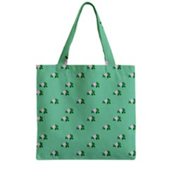 Pink Flowers Green Big Grocery Tote Bag
