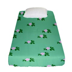Pink Flowers Green Big Fitted Sheet (single Size)