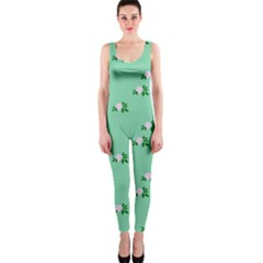 Pink Flowers Green Big One Piece Catsuit