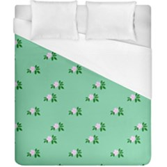 Pink Flowers Green Big Duvet Cover (california King Size)