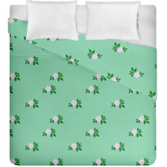 Pink Flowers Green Big Duvet Cover Double Side (king Size)