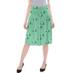 Pink Flowers Green Big Midi Beach Skirt
