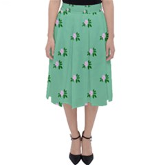 Pink Flowers Green Big Folding Skater Skirt