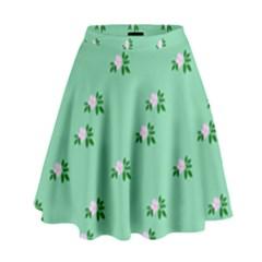 Pink Flowers Green Big High Waist Skirt