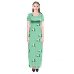Pink Flowers Green Big Short Sleeve Maxi Dress