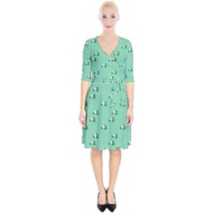 Pink Flowers Green Big Wrap Up Cocktail Dress
