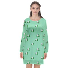 Pink Flowers Green Big Long Sleeve Chiffon Shift Dress