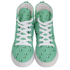 Pink Flowers Green Big Women s Hi Top Skate Sneakers