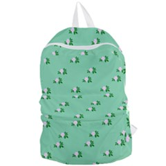 Pink Flowers Green Big Foldable Lightweight Backpack