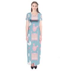 Baby Pattern Short Sleeve Maxi Dress