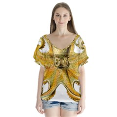 Gold Octopus V Neck Flutter Sleeve Top