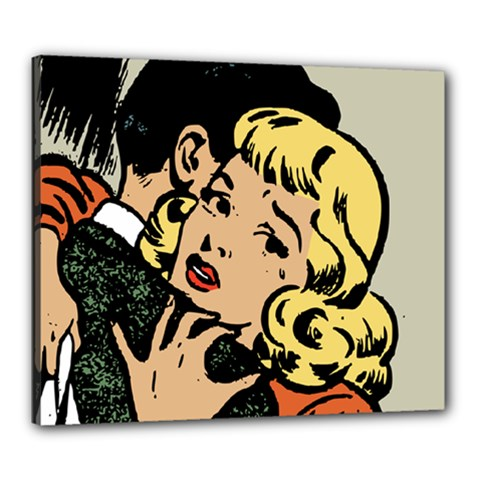 Hugging Retro Couple Canvas 24  X 20