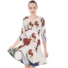 Vintage 1650593 1920 Quarter Sleeve Front Wrap Dress