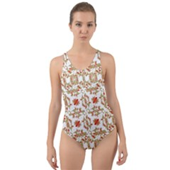 Colorful Modern Pattern Cut Out Back One Piece Swimsuit