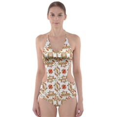 Colorful Modern Pattern Cut Out One Piece Swimsuit