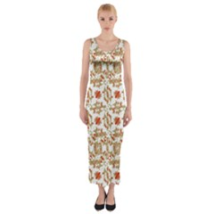 Colorful Modern Pattern Fitted Maxi Dress