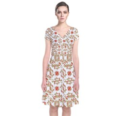 Colorful Modern Pattern Short Sleeve Front Wrap Dress