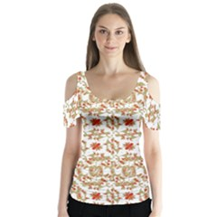 Colorful Modern Pattern Butterfly Sleeve Cutout Tee