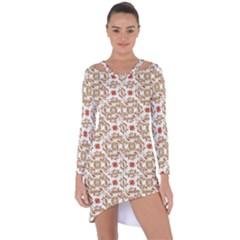 Colorful Modern Pattern Asymmetric Cut Out Shift Dress