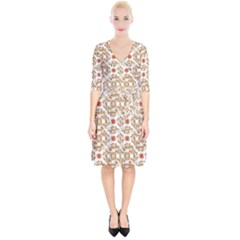 Colorful Modern Pattern Wrap Up Cocktail Dress