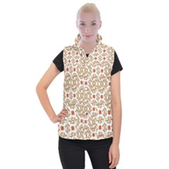 Colorful Modern Pattern Women s Button Up Puffer Vest