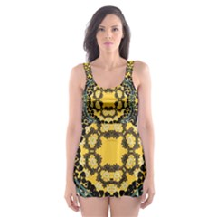 Ornate Circulate Is Festive In A Flower Wreath Decorative Skater Dress Swimsuit