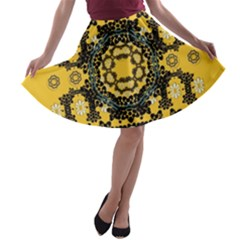 Ornate Circulate Is Festive In A Flower Wreath Decorative A Line Skater Skirt