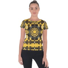 Ornate Circulate Is Festive In A Flower Wreath Decorative Short Sleeve Sports Top