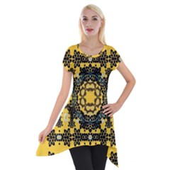 Ornate Circulate Is Festive In A Flower Wreath Decorative Short Sleeve Side Drop Tunic