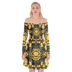 Ornate Circulate Is Festive In A Flower Wreath Decorative Off Shoulder Skater Dress