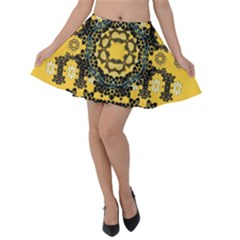 Ornate Circulate Is Festive In A Flower Wreath Decorative Velvet Skater Skirt