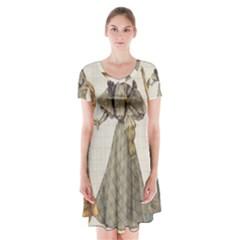 Vintage 1480642 1920 Short Sleeve V Neck Flare Dress