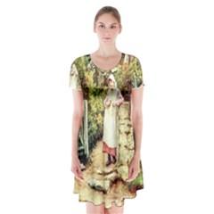 Vintage 1895908 1920 Short Sleeve V Neck Flare Dress