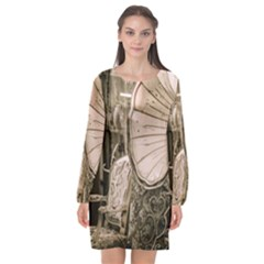 Flea Market Redord Player Long Sleeve Chiffon Shift Dress