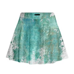 Splash Teal Mini Flare Skirt