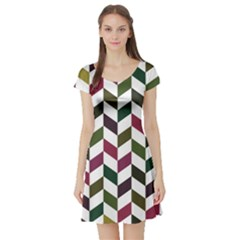 Zigzag Chevron Pattern Green Purple Short Sleeve Skater Dress