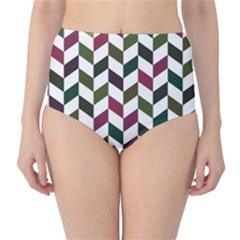 Zigzag Chevron Pattern Green Purple High Waist Bikini Bottoms