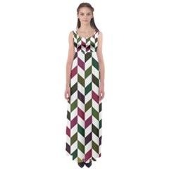 Zigzag Chevron Pattern Green Purple Empire Waist Maxi Dress