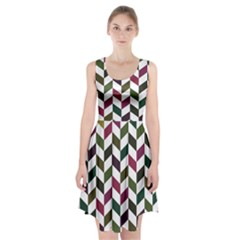Zigzag Chevron Pattern Green Purple Racerback Midi Dress