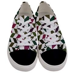 Zigzag Chevron Pattern Green Purple Women s Low Top Canvas Sneakers