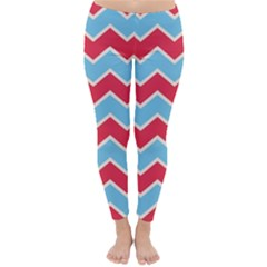 Zigzag Chevron Pattern Blue Red Classic Winter Leggings