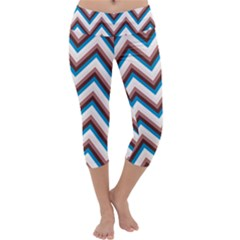 Zigzag Chevron Pattern Blue Magenta Capri Yoga Leggings