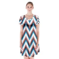 Zigzag Chevron Pattern Blue Magenta Short Sleeve V Neck Flare Dress