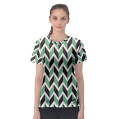 Zigzag Chevron Pattern Green Black Women s Sport Mesh Tee
