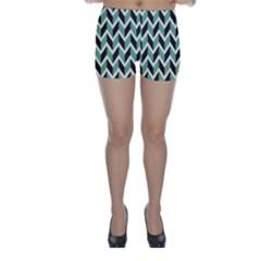 Zigzag Chevron Pattern Green Black Skinny Shorts