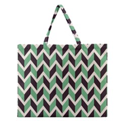Zigzag Chevron Pattern Green Black Zipper Large Tote Bag